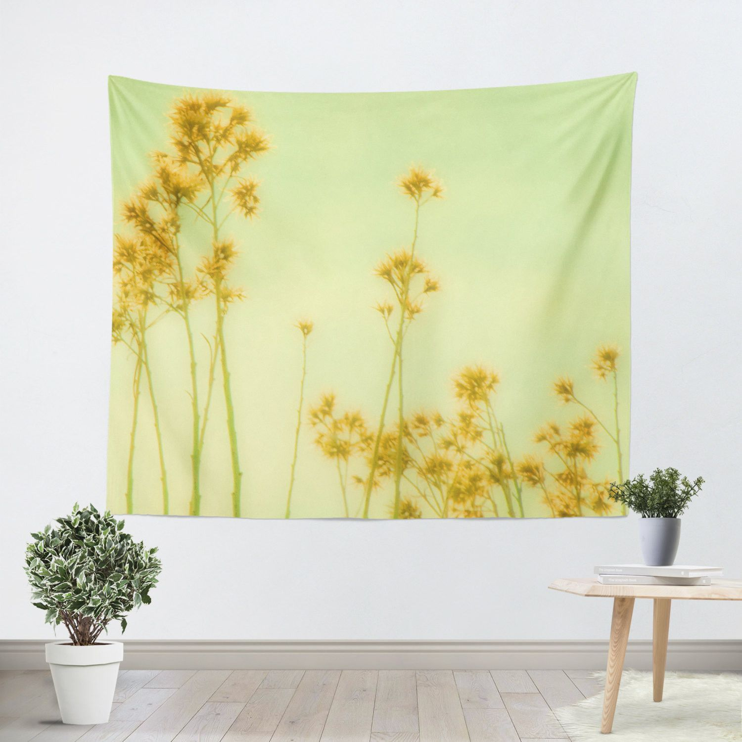 Abstract Yellow Flowers Tapestry Our Wall Tapestries are made of 100 ...