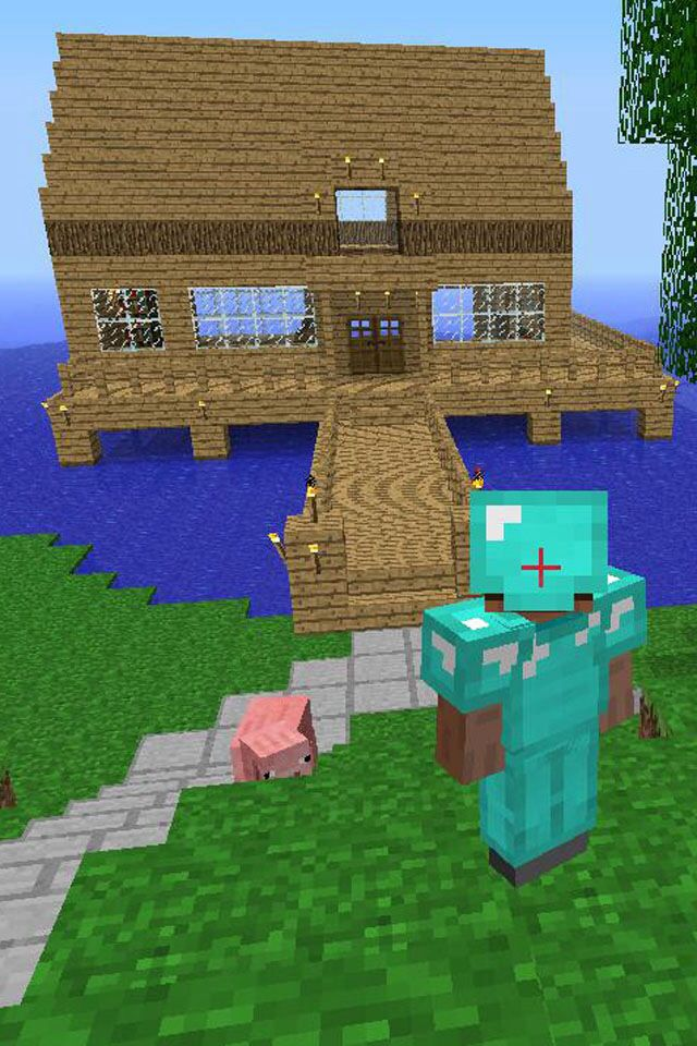Easy water docked house easyminecrafthouses minecraft projects ideas stuff also   construcciones rh co pinterest
