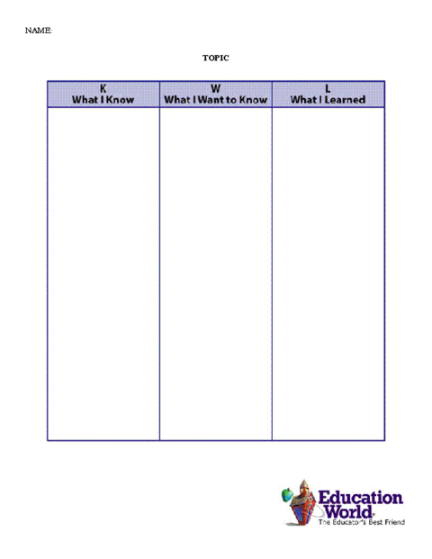 Education World Kwl Chart Template  Teaching    Chart