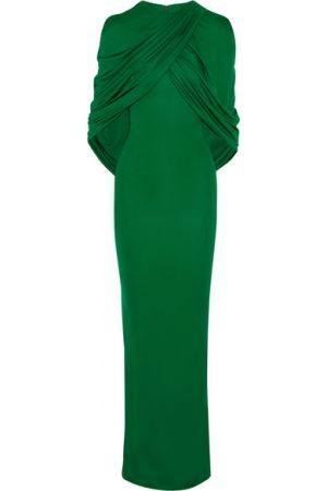 GIVENCHY Cape-effect gown in emerald jersey