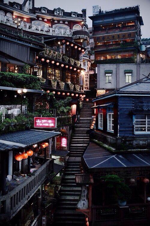 Beautiful street in Taiwan! ( not Japan..)