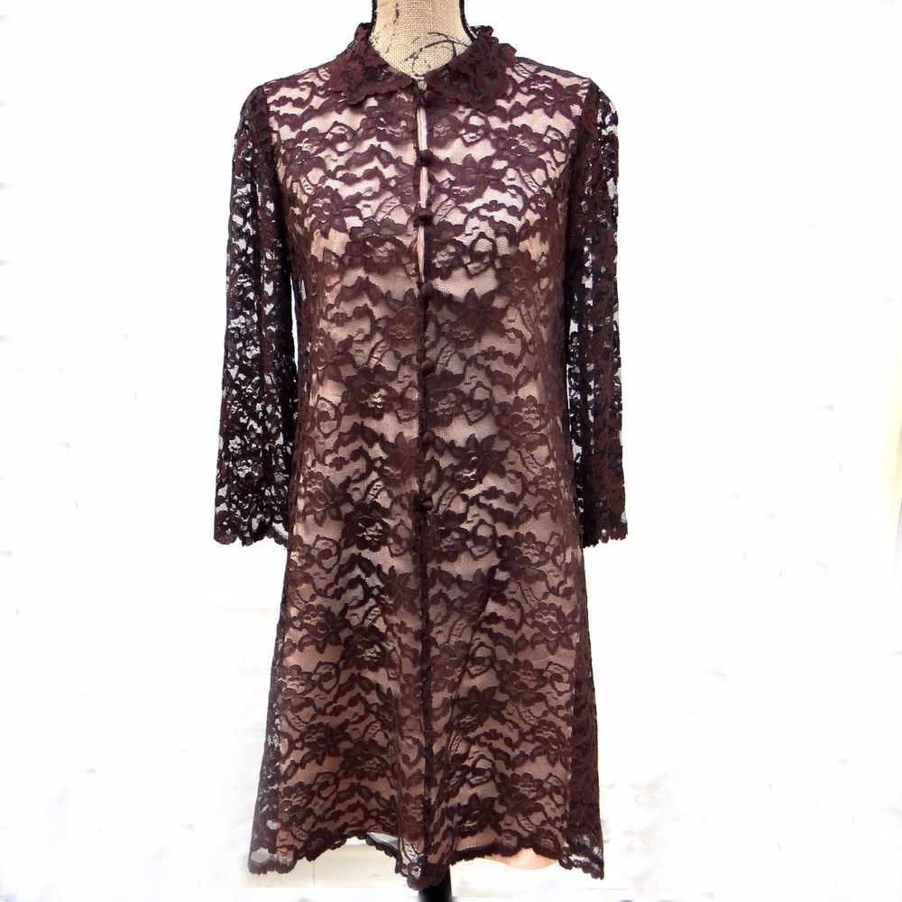 Vintage carol craig cocktail dress brown lace long sleeve aline