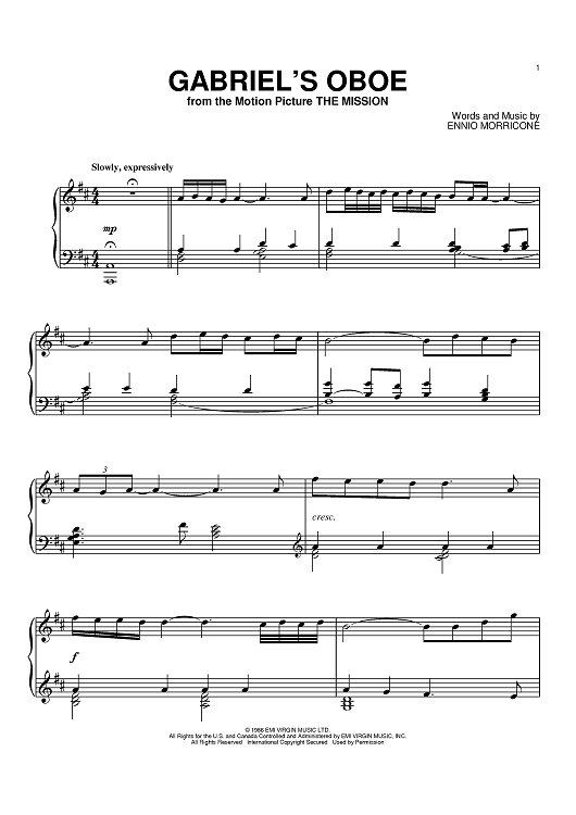 Gabriel's Oboe Sheet Music Preview Page 1
