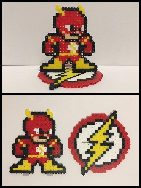 Barry Allen Flash Comics 2 Piece Stand Up Perler Bead Figure
