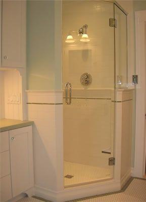 Corner Shower One Wall One Glass Wall Glass Door