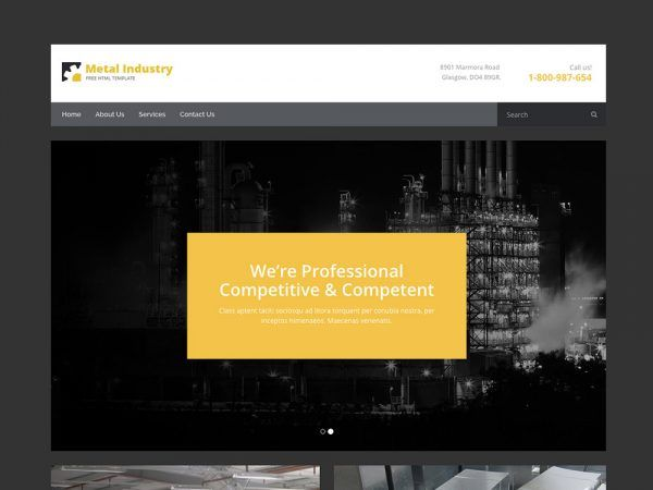 Metallix Free Industrial Construction Company Html5 Bootstrap Template Construction Company Html5 Templates Templates