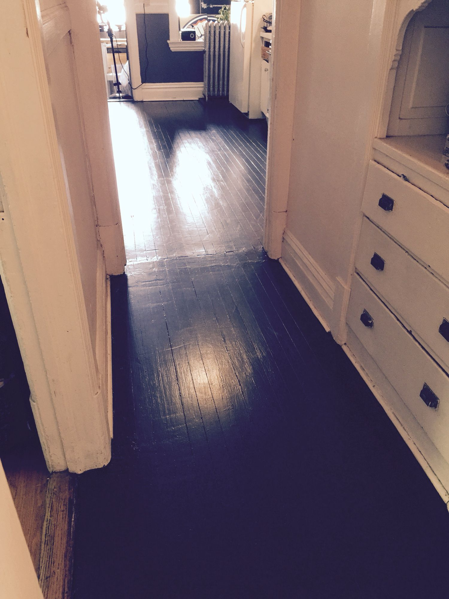 The Old Linoleum Kitchen Floor And The Grey Painted Hallway Floor Are Now Completely Restored I Removed Thre Grey Kitchens Painted Floors Black Floor Paint