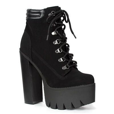 black lace platform boots