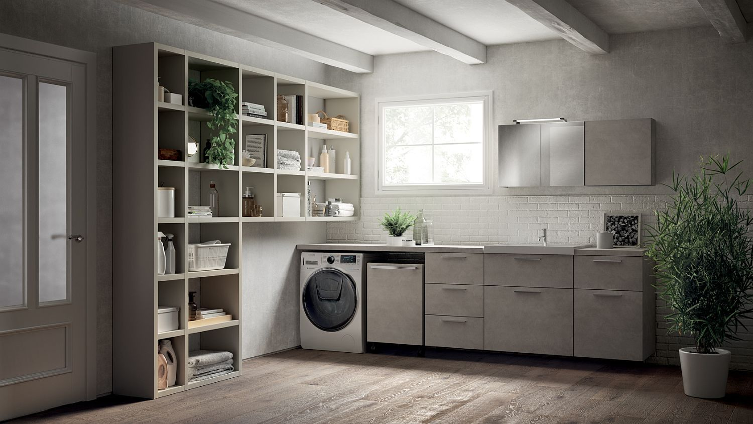 Fluida wall system combined with refined bathroom setting and smart ...