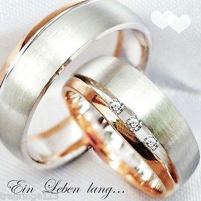 2 Titanringe Verlobungsringe Eheringe Trauringe mit Zirkonia /& Lasergravur