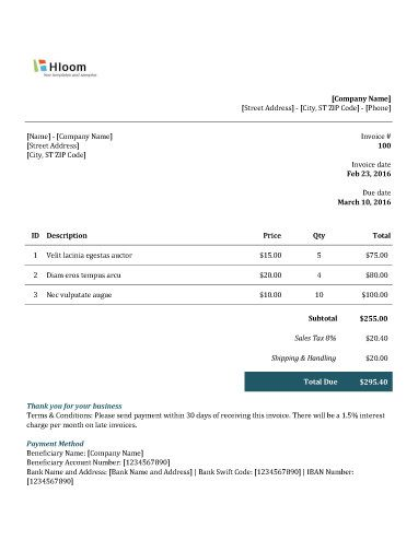 Teal Time Excel Invoice Template Invoice Templates Pinterest