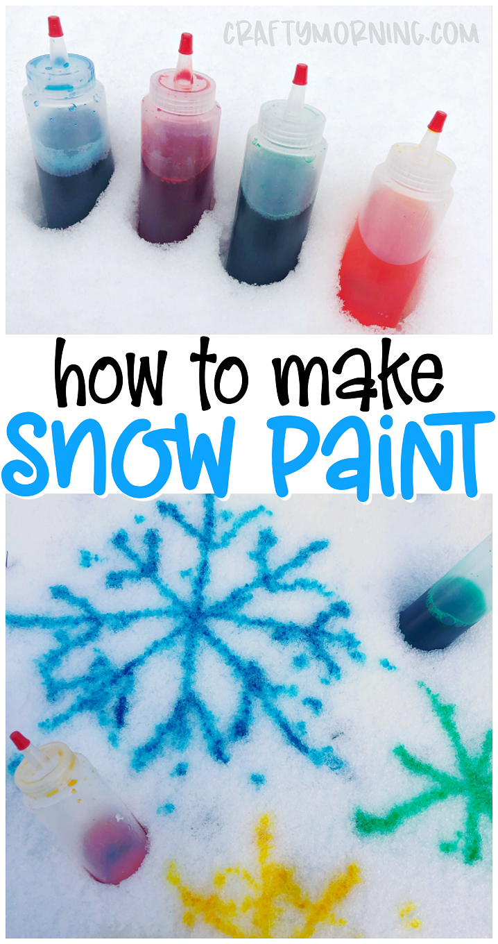 Make some snow paint using 2 ingredients! Snow paint recipe for kids to make this winter. Winter snow activity for kids. Easy and cheap way to entertain the kiddos. Kids craft idea