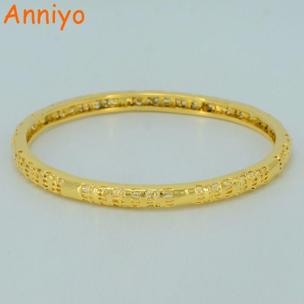 Anniyo cm bangles for womenussmall charm bangle gold color