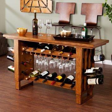 Wine Console Table Wine Rack Furniture Rustic Wine Cabinet Wooden Kitchen Storage