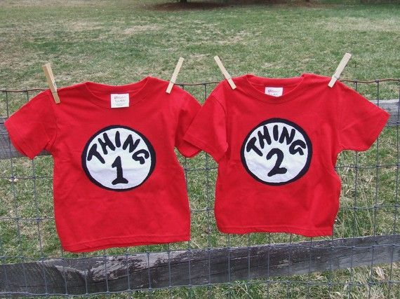 59c579649 Dr Seuss Thing 1 and Thing 2 Twin T-shirt   Dr. Seuss Party ...