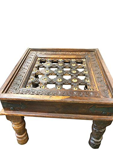 Indian Style Rustic Solid Wood Coffee Table Handcrafted Brass Indian