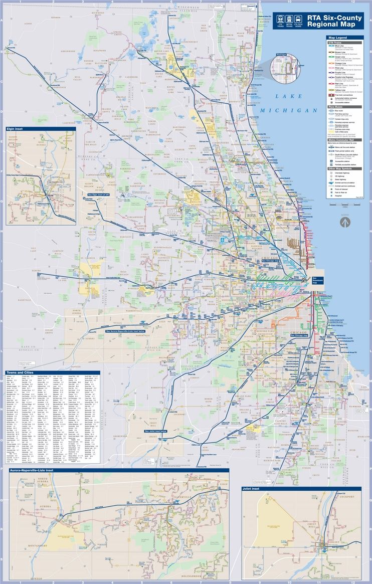 Chicago area CTA, Metra and bus map   Maps   Pinterest   Bus map ...