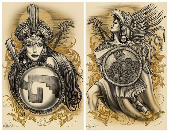 Aztec Tattoo Style Art On Prints By David Gonzalez Cultural