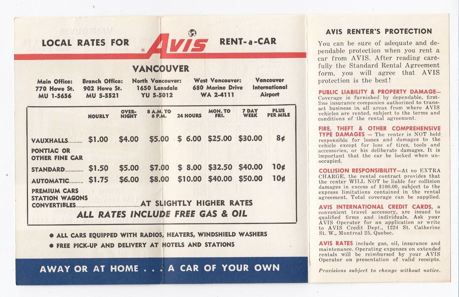 Rate Card For Avis Car Rentals Vancouver Bc Canada 1960 S