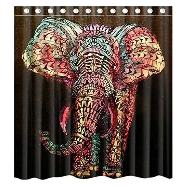 66x72inch Colorful Elephant Shower Curtain With Curtain Hooks For
