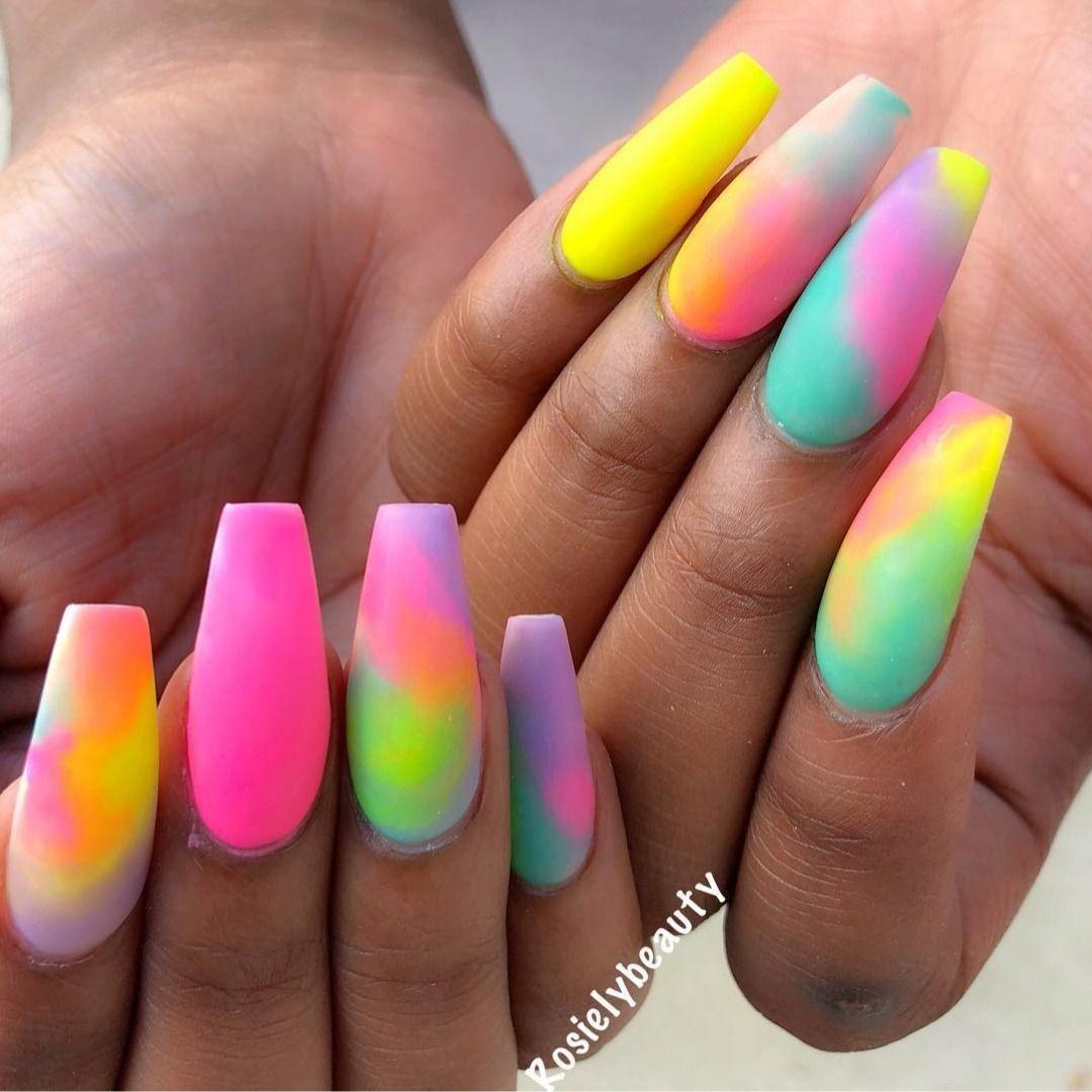 Rainbow Marble Rosielybeauty Rave Nails Colourful Acrylic Nails Ombre Acrylic Nails