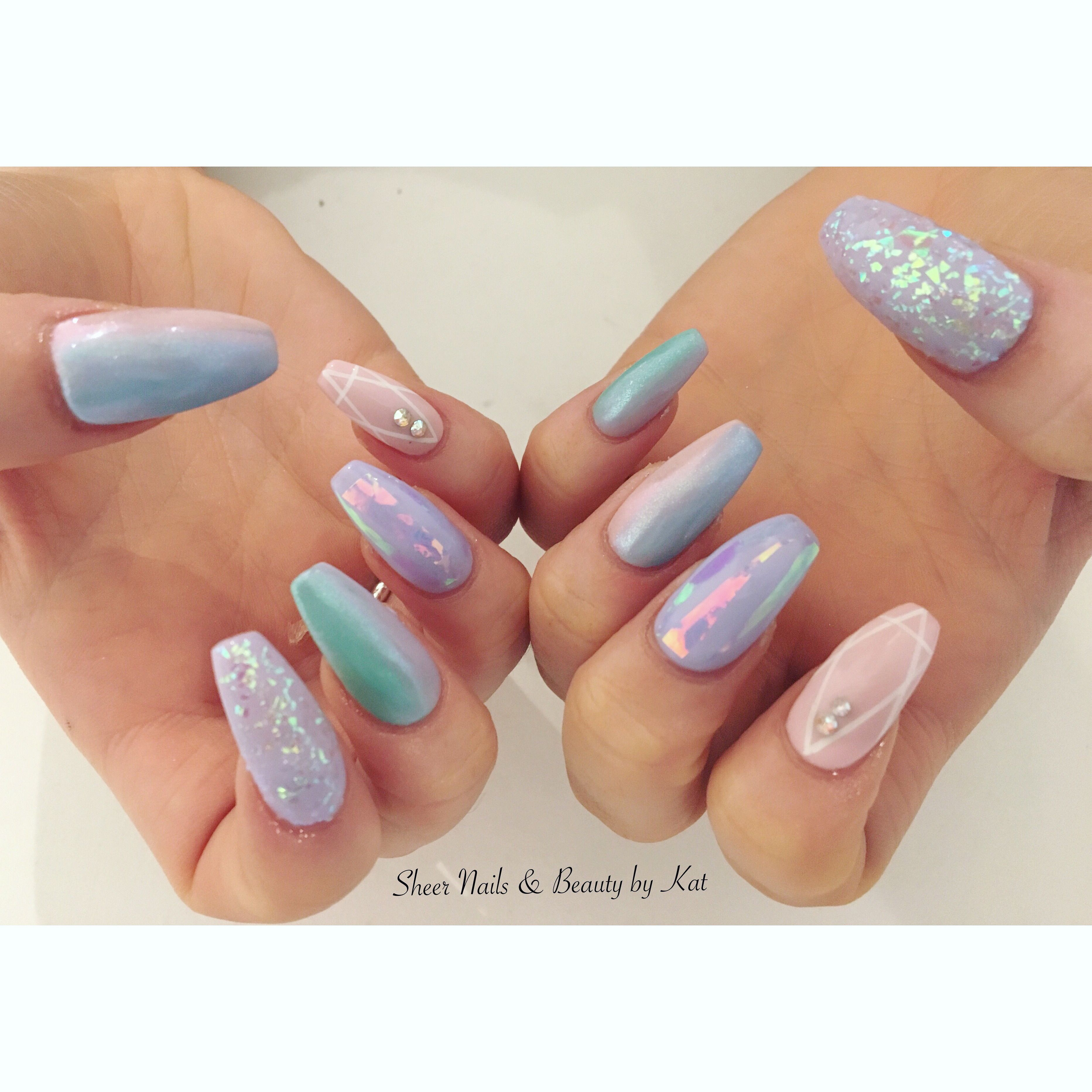 Mermaid Nails Prohesion Sculpted Acrylics With Angel Paper Mylar Flakes And Ombre Gel Mylar Nails Opal Nails Angel Paper Nails