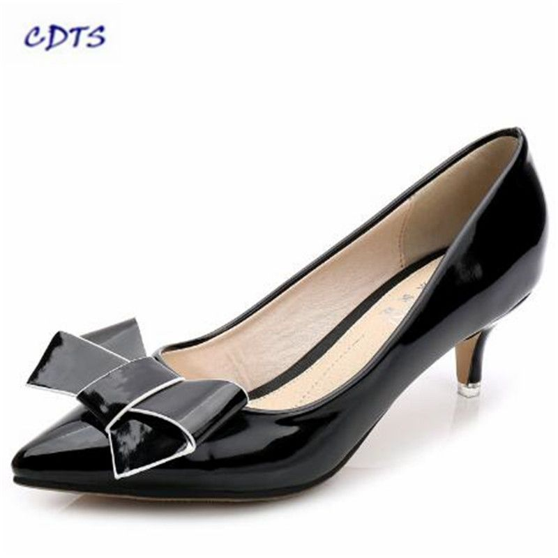 >> Click to Buy << CDTS Crossdress Small Yards:33 34-40 Spring 5cm Med thin heels Bowtie shoes woman sexy Pointed Toe Patent Leather OL pumps #Affiliate