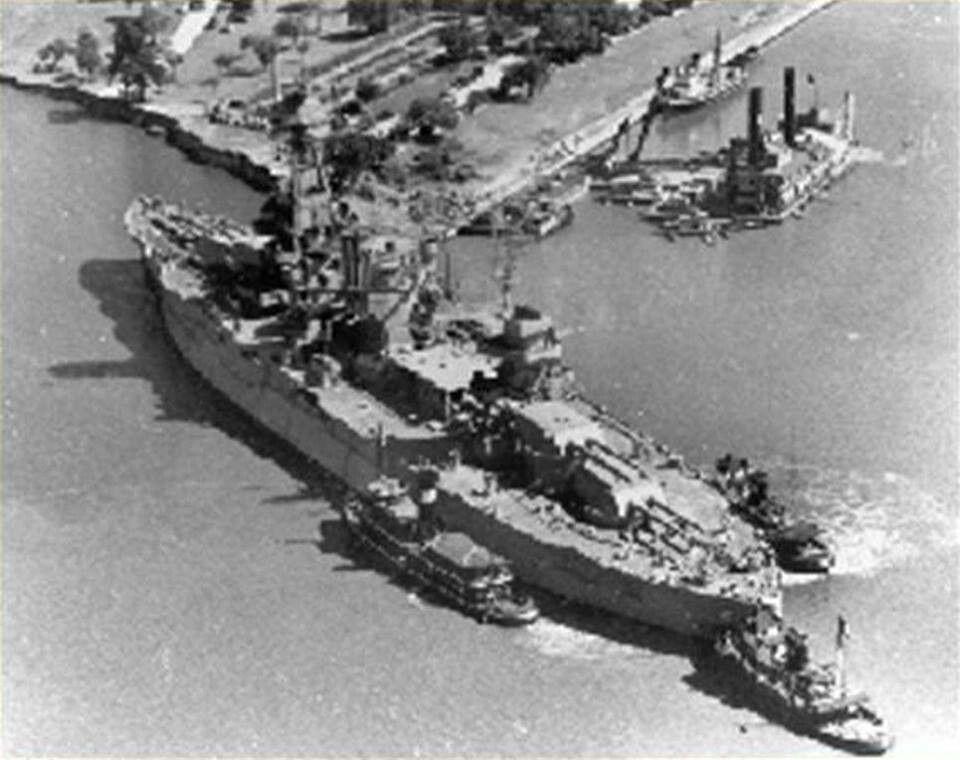 USS Texas being put in her berth at San Jacinto April 1948