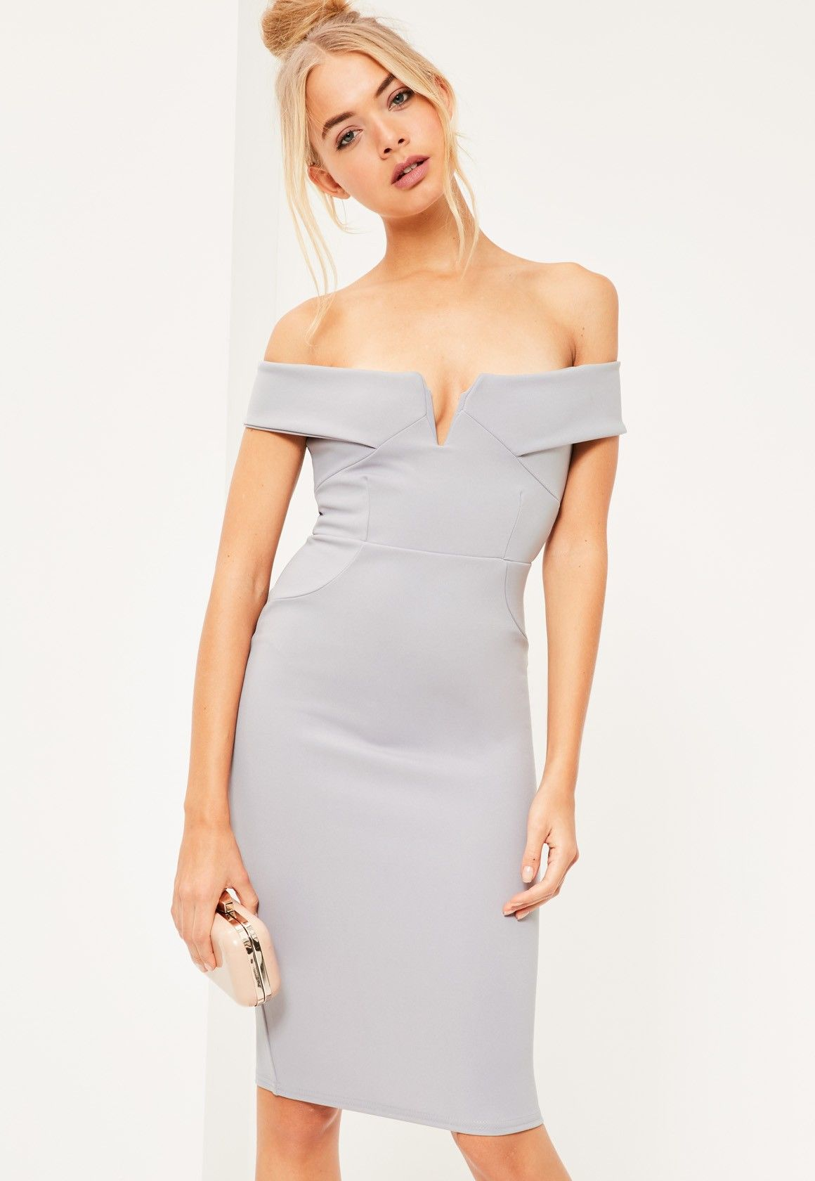 Missguided V Front Bardot Midi Dress Grey Dresses Bodycon Dress Women Dress Online [ 1680 x 1160 Pixel ]