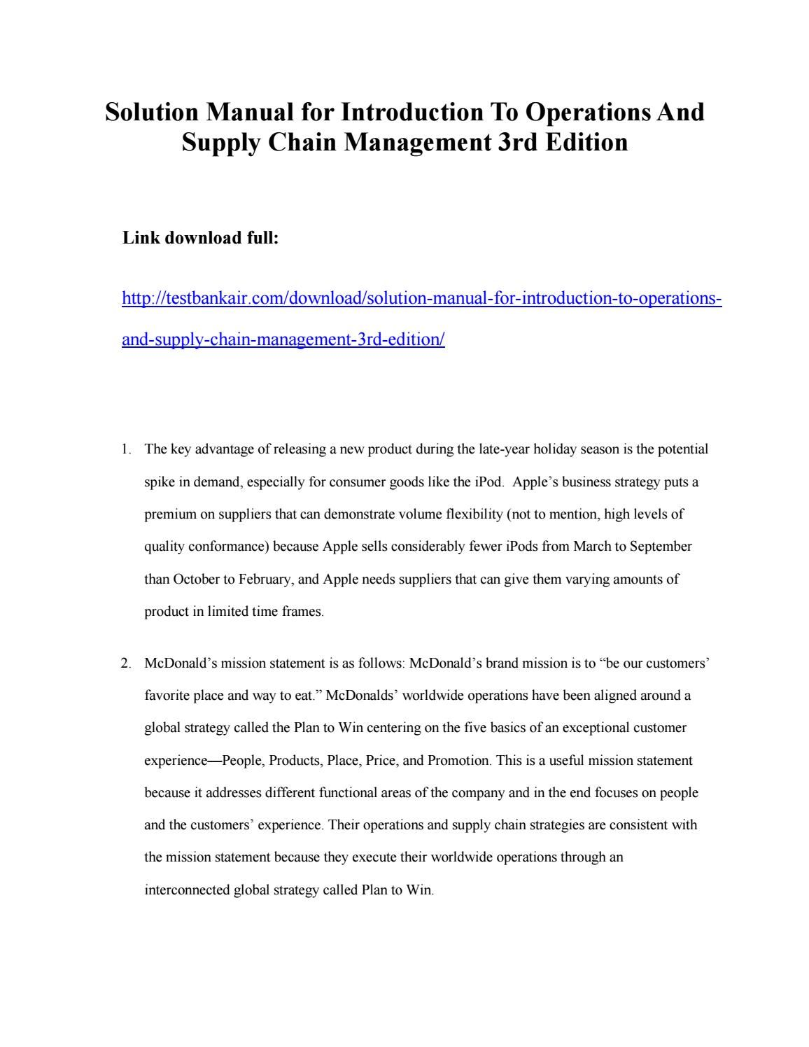 download solution manual for introduction to operations and supply rh pinterest com solution manual for operations and supply chain management 14th edition by jacobs operations and supply chain management solutions manual pdf