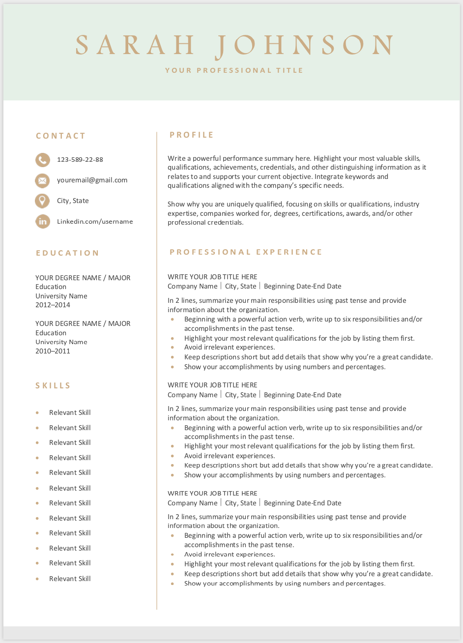 Free Resume Template Downloadable resume template, Free