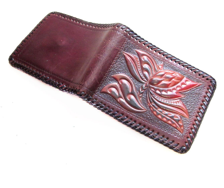 Boho Tooled Leather Wallet, Brown / Flower Design.