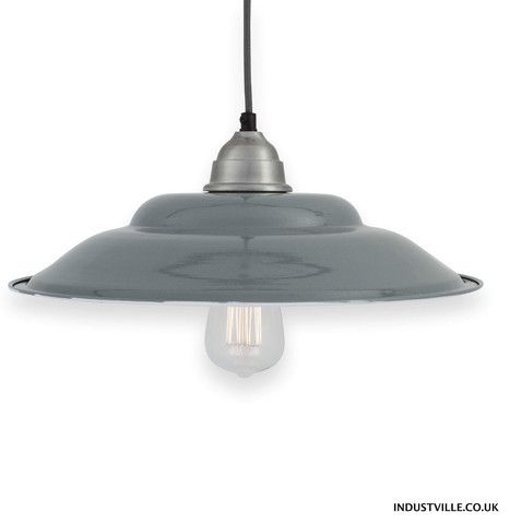 Retro french enamel pendant light in grey