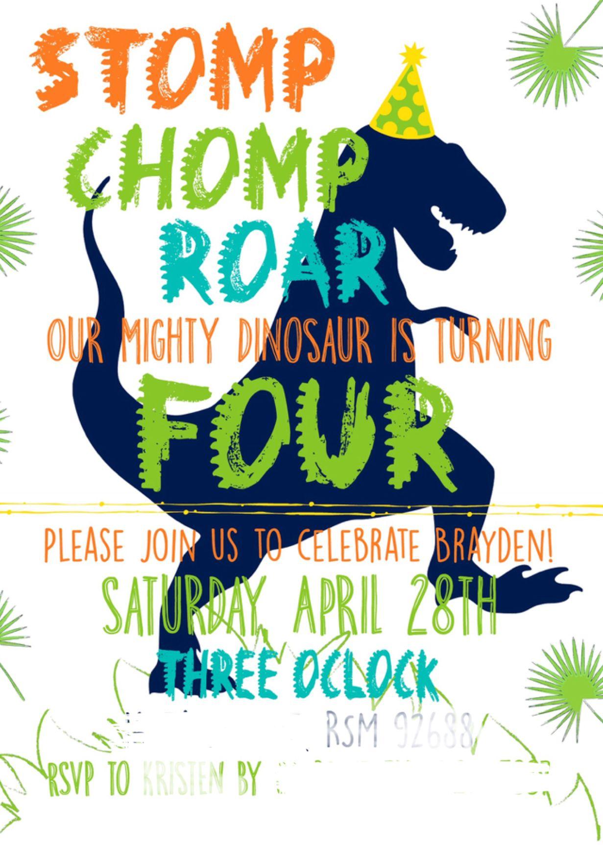 Chomp T-Rex Invitation Dinosaur Invitation Dinosaur Birthday Dinosaur Birthday Party Invitation Roar Invitation Stomp Digital