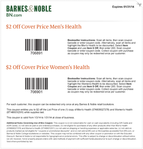 Barnes And Noble Get 2 Off Cover Price Men S Health Or Women S Health At Barnes And Noble With Coupon Through Janu Printable Coupons Barnes And Noble Coupons