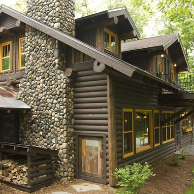 Gray for my log cabin on the lake rustic modern - Rustic home exterior color schemes ...