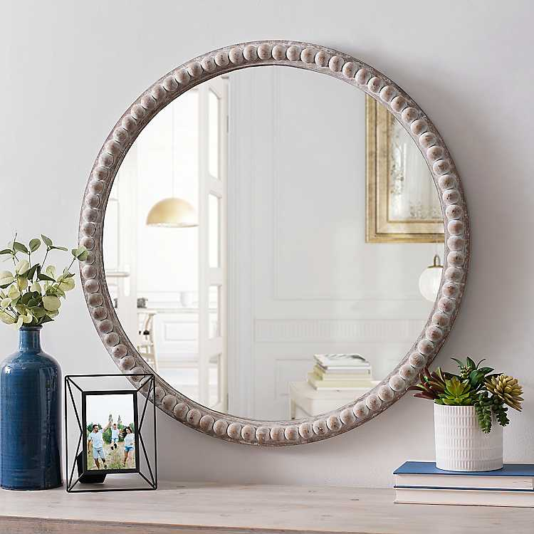 round natural beaded wall mirror beaded mirror on wall mirrors id=50383