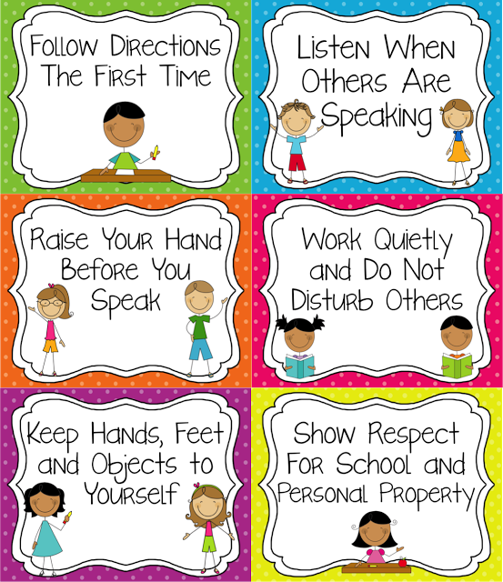 Classroom Design Guide ~ Classroom rules that are tangible and easy for younger