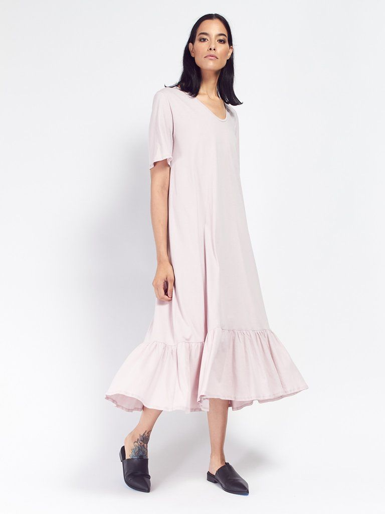 Building block gather hem dress powder by kowtow dream closet