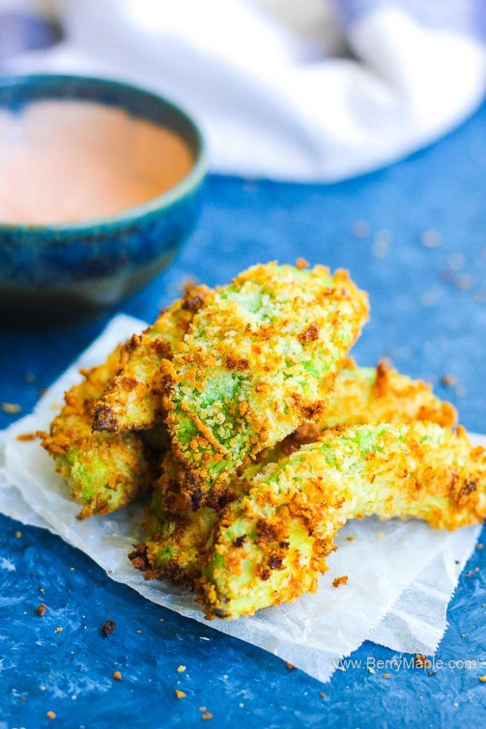 Crunchy avocado fries made in your air fryer! Low carb and