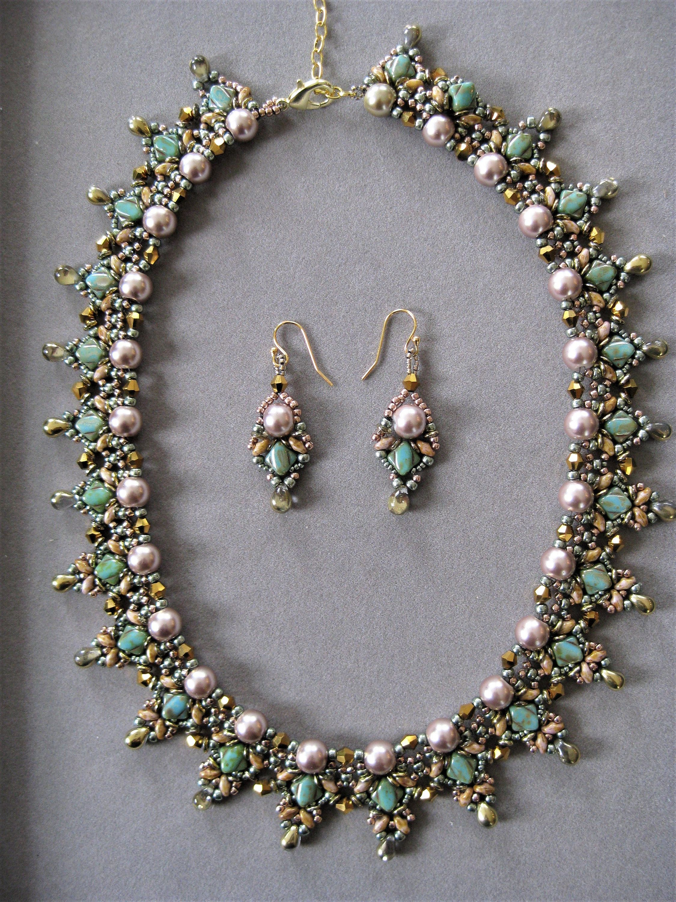 Turquoise Silky And Tan Superduo Handcrafted Seed Bead Necklace