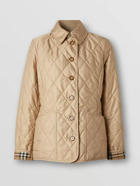 Diamond Quilted Thermoregulated Jacket In Black Women Burberry United States In 2020 Burberry Quilted Jacket Quilted Jacket Womens Chinos