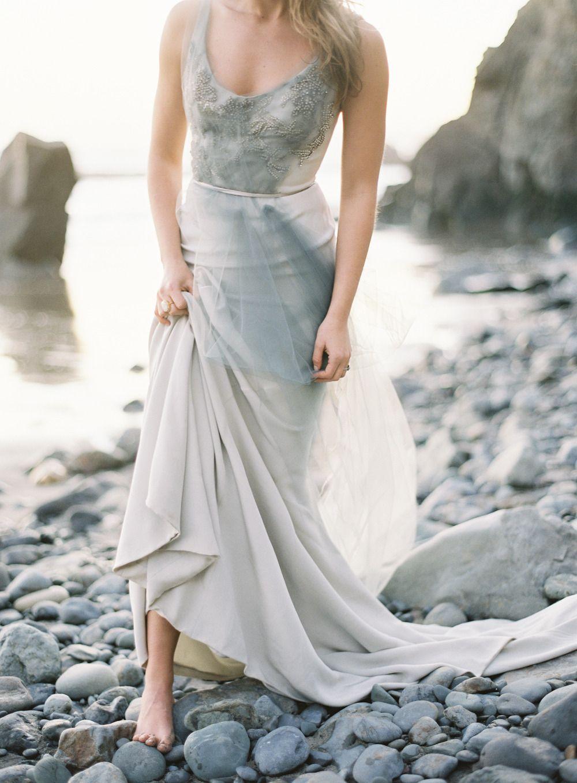 Blue grey wedding dress  Coastal California Wedding Inspiration  California wedding Coastal