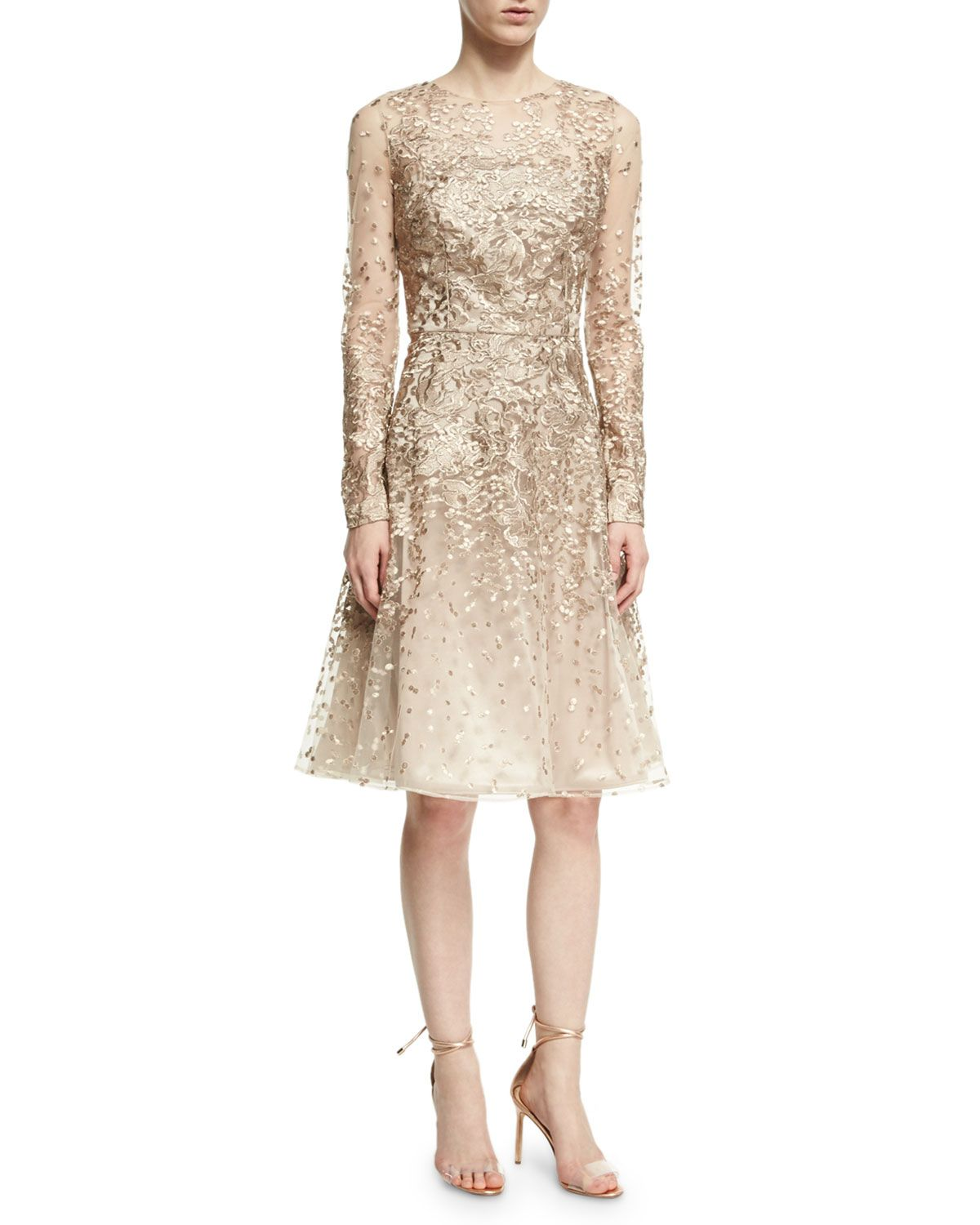 David meister longsleeve lace cocktail dress platinum neiman