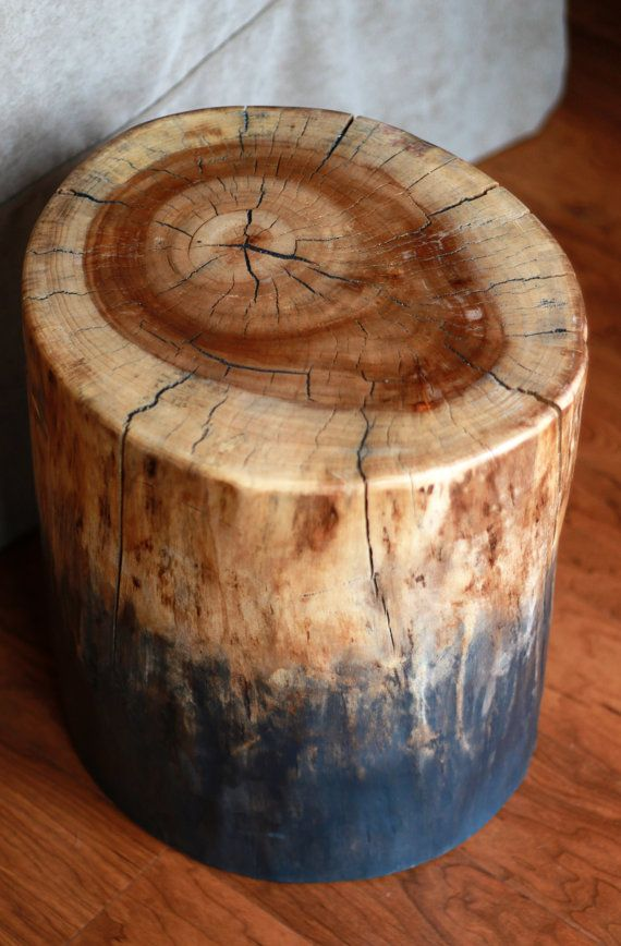 Rustic Industrial Ombre Stump Table