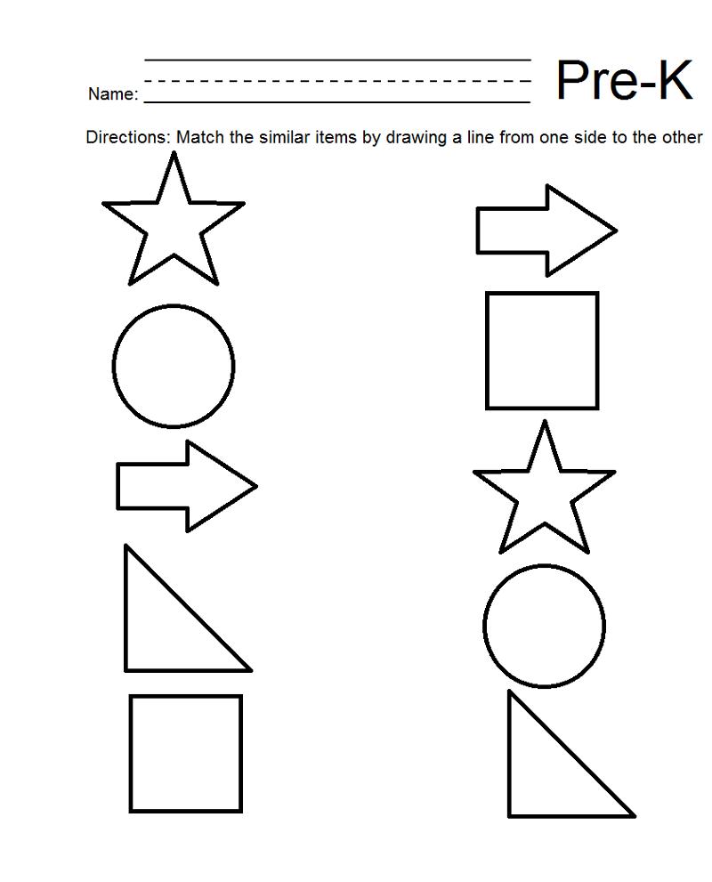 pre k shapes worksheets matching...   Graces school   Pre k ...