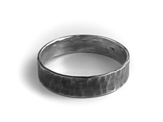 Men S Sterling Silver Ring Rustic Wedding Band Hammered Dark Silver Oxidized Tradit Mens Wedding Bands Hammered Rustic Wedding Bands Hammered Wedding Bands