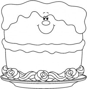 Birthday cake coloring page | Free kindergarten printables ...