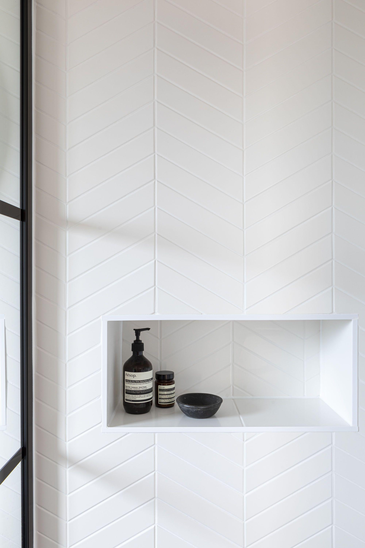 Photo of Monastir White Matt Chevron Ceramic Tiles | Mandarin Stone
