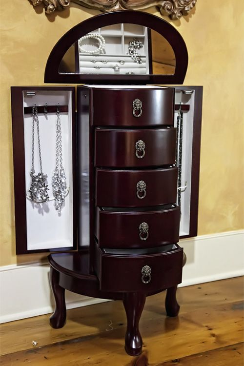 Mele Co Astoria Cherry Jewelry Armoire Mele Armoires
